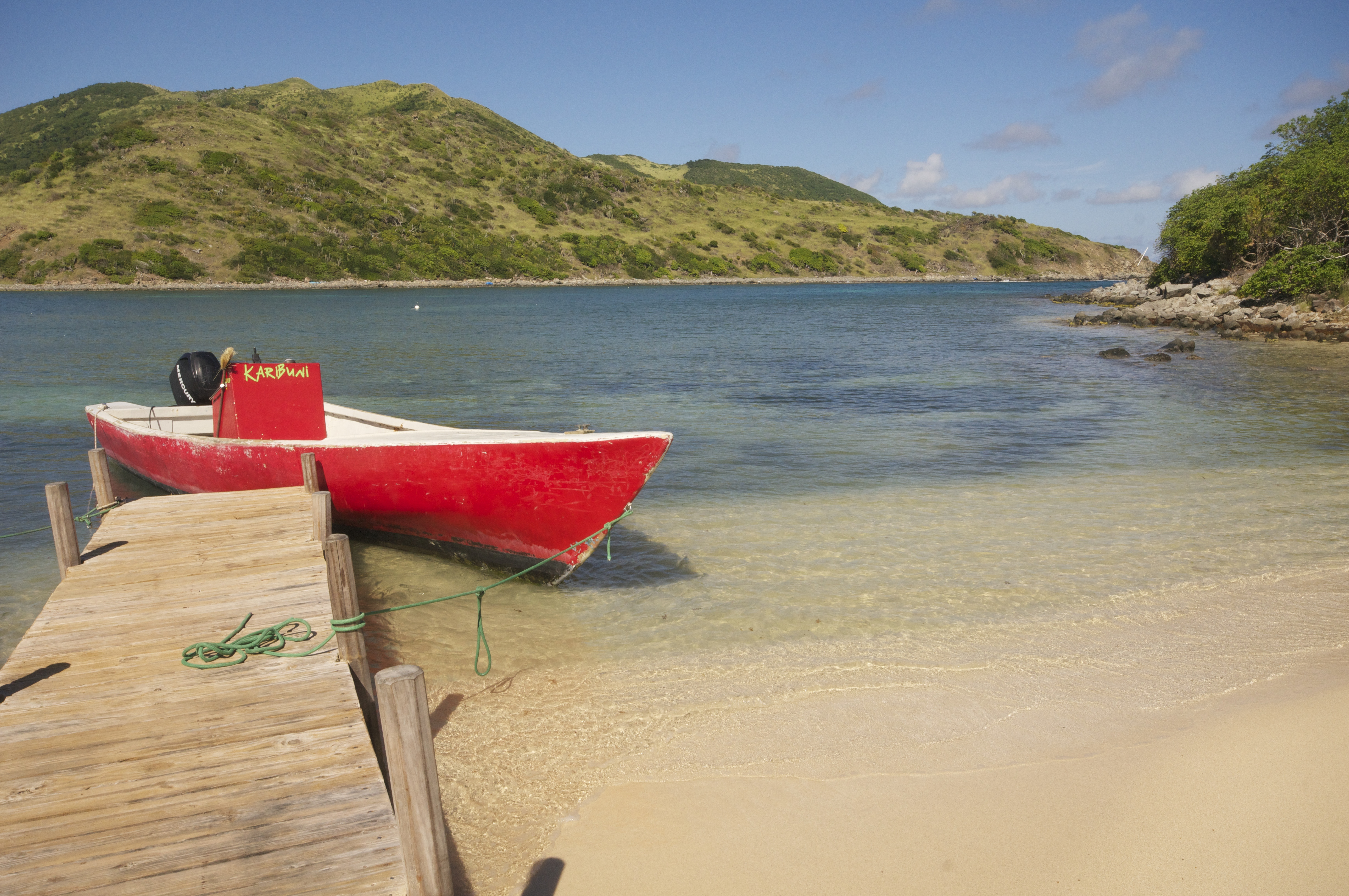 A boat rests at a dock on Pinel Island, an idyllic islet off St. Martin's east coast. Pinel offers soft, clean beaches, outdoor restaurants, snorkeling and short walking trails. (John Briley)